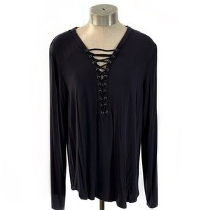 AMERICAN EAGLE Soft + Sexy Lace Up Front Top Large